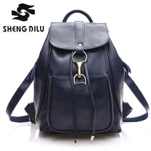 2016 New Japan And Korean Style Casual Women's Cowhide Backpacks Brief Genuine Leather Girl's Multipurpose Bag
