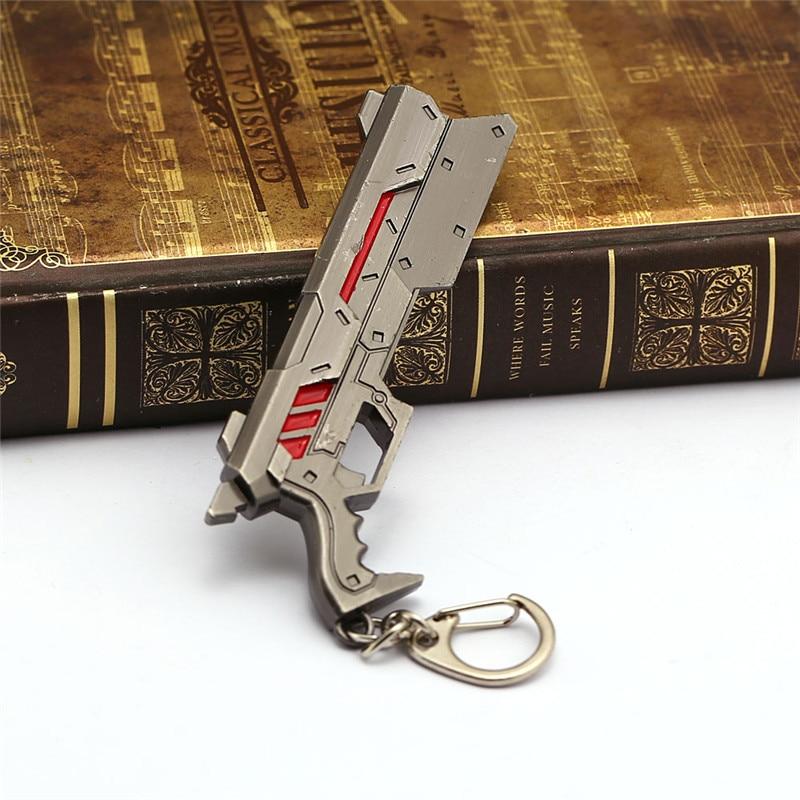 Game LoL Gun Model Keychain Metal Gun Model The Purifier Lucian Key Ring Chain Souvenir Men Gift Jewelry For Bag Car