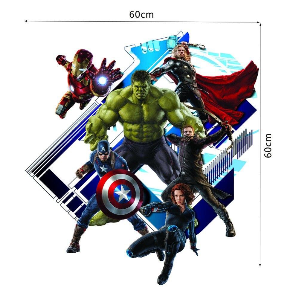 Cartoon Avengers Captain Super Hero Wall Stickers Kids Room Boys - Superhero wall decals for kids rooms