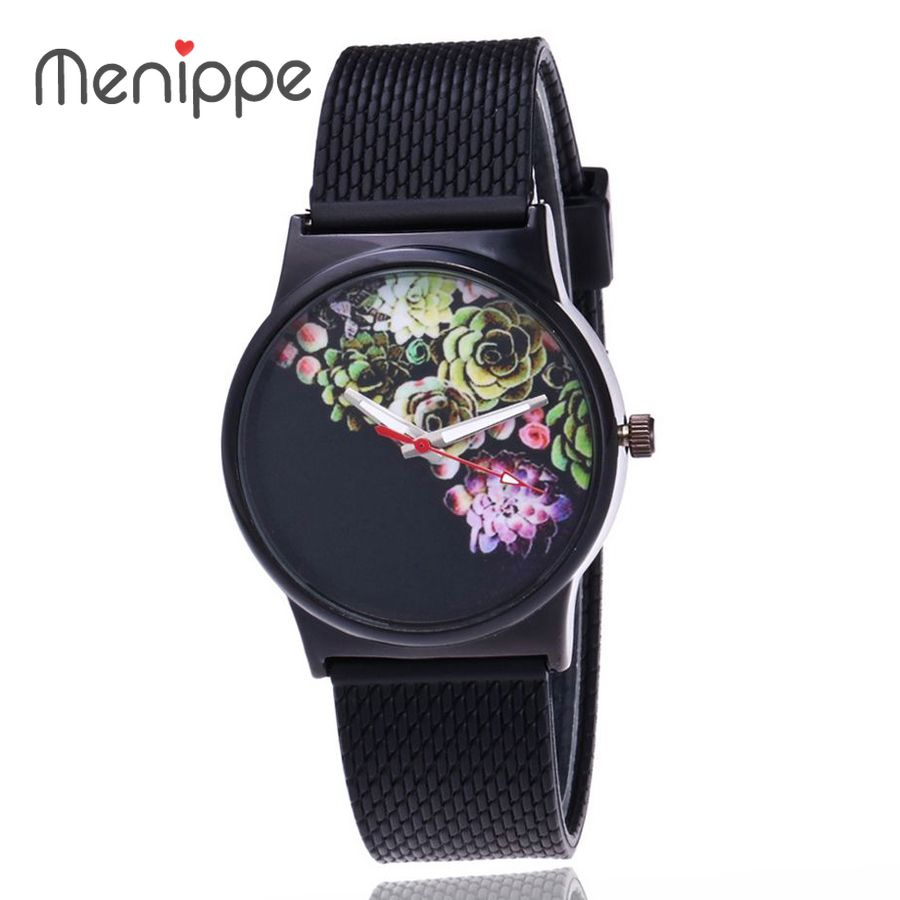 2019 Newest Flower Printed Watches Fashion Women Analog Quartz Wristwatch Newly Design Simple Lady Dress Silicone Reloj Relogio