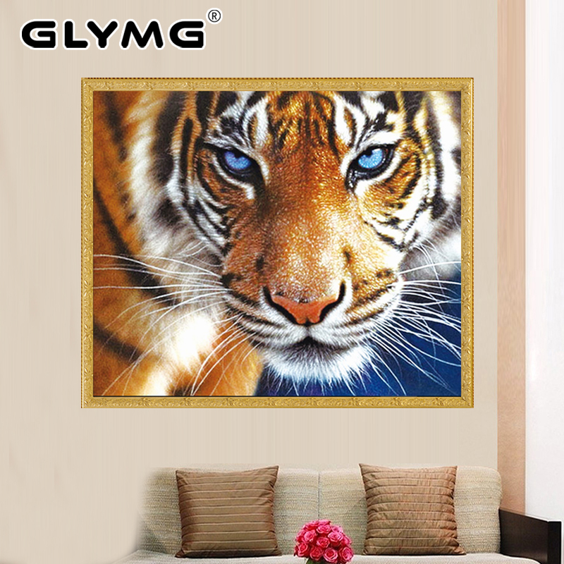 GLymg Tigre Bordado Diamante Diy Cristal de Diamante Brillante Rhinestones de Perforación de Diamante Pintura punto de Cruz Animal Decor Imagen