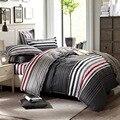 Hot 100% algodón de las muchachas/niños juego de cama rojo gris punto raya ropa de cama incluye funda nórdica funda de almohada king/queen/tamaño completo/doble