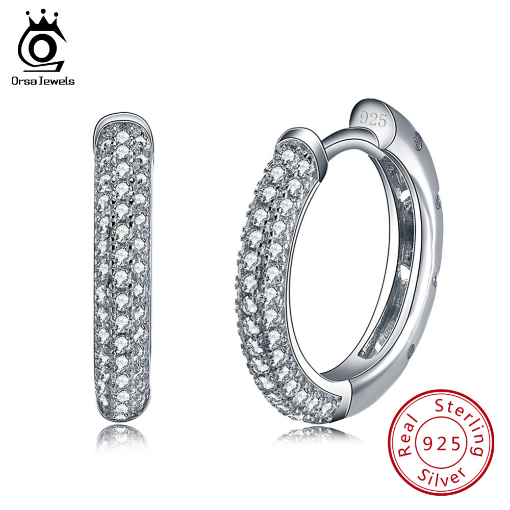 ORSA JEWELS Hoop Earrings 2019 Trendy Wanita Perhiasan 925 Sterling Silver Earring dengan 2 Baris 90 pcs Austria Cubic Zirconia SE19