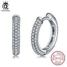 ORSA JEWELS Hoop Earrings 2019 Trendy Women Jewelry 925 Sterling Silver Earring with 2 Row 90pcs Austrian Cubic Zirconia SE19