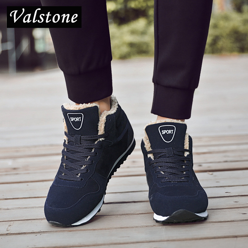 Valstone hommes d'hiver sneakers chaud en peluche doublure neige chaussures respirant casual chaussures non slip appartements ultra lumière plus taille hombres-in Chaussures décontractées homme from Chaussures    1
