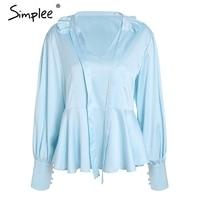 Simplee V Neck Vintage Satin Blouse Shirt Ruffle Lantern Long Sleeve Summer Blouse 2018 Fashion Office