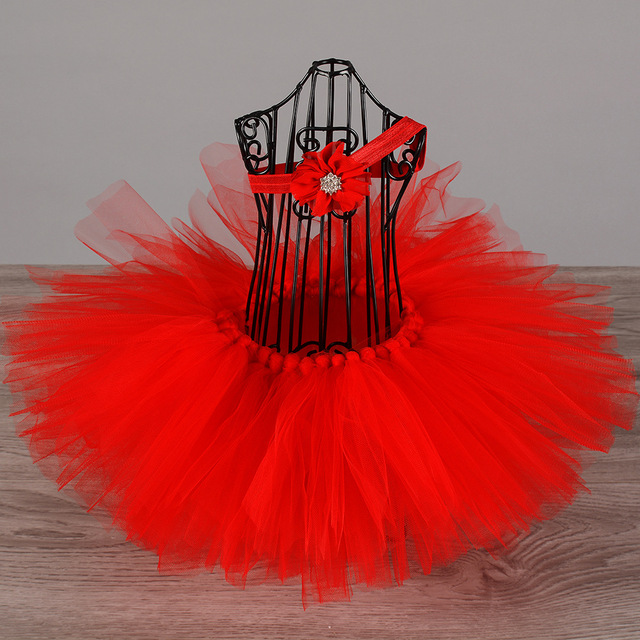 venta limitada comprar online entrega gratis Faldas de tutú rojo para bebés, faldas de tul hechas a mano, Tutus, de  Ballet, con diadema de flores para niños, falda de fiesta de cumpleaños