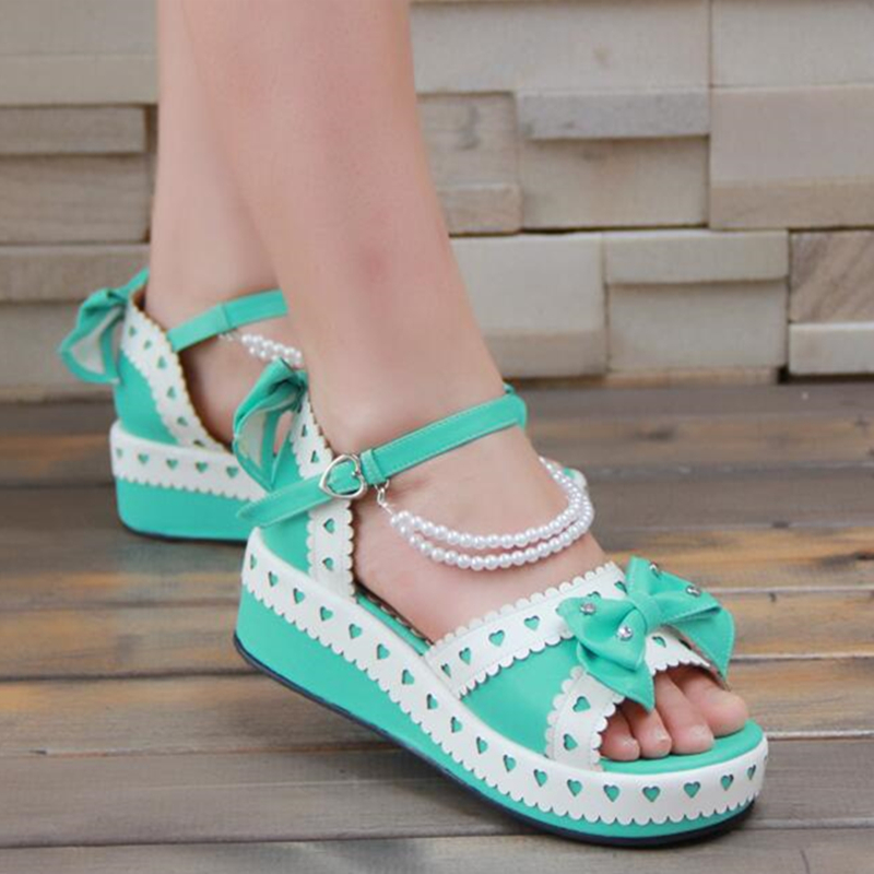 Japanese Sweet Lolita Hearts Thick Platform Wedge Princess Sandals With Bows And Pearls