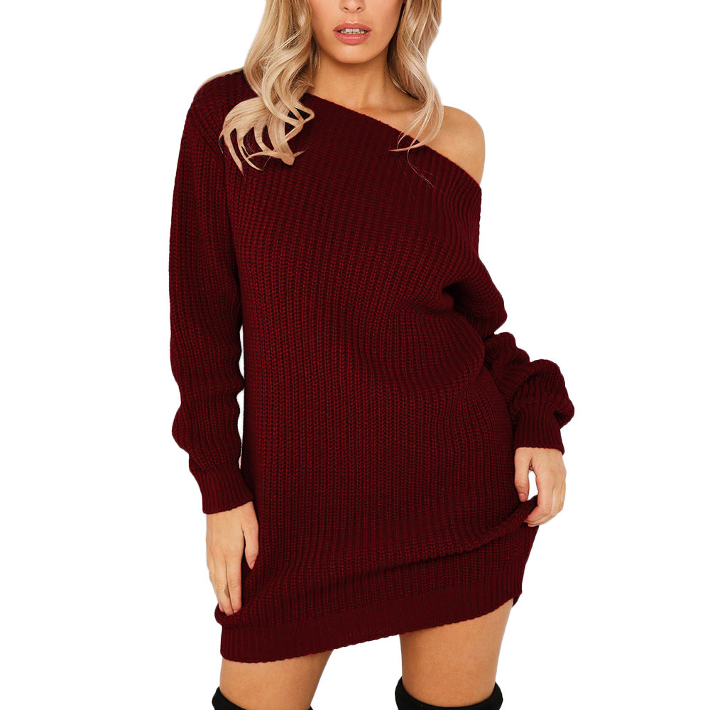 US $10.99 22% OFF|Women Knitted Cold Off Shoulder Long Sleeves Evening Party Maxi Pullover Mini Dress Winter Hot Sale New Sweater Dresses|Dresses|