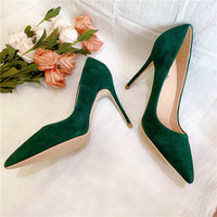 Free shipping fashion women Pumps green suede leather Pointy toe high heels pearls shoes bride wedding shoes 12cm 10cm 8cm