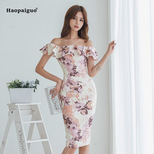 купить Summer Women Print Pencil Dress 2019 Plus Size Off White Short Sleeve Ruffles Off the Shoulder Dress Elegant Flora Midi Dresses по цене 1854.29 рублей