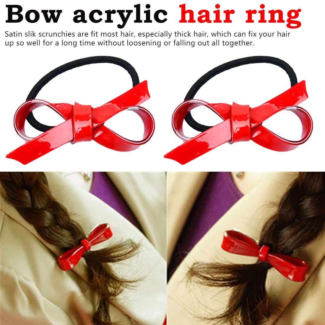 Bow Acrylic Hair Clips Joker Side Clip Hairpin Head Ornament Hair Strap Red Elastic Hair Band Ponytail Clip Bow Hair Ribbons