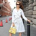 Пальто женщин Осень 2017 Белый плащ Средней длины Осень Пальто для женщин Бесплатная доставка размер s-2xl