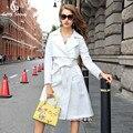 Casaco feminino Outono 2017 Branco Trench Coat de Médio-longo Casaco de Outono para as mulheres Frete grátis tamanho s-2xl