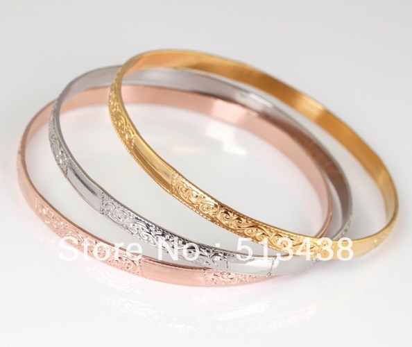 c6dddae30 3pcs/1set high-grade sweet lady Stainless Steel 2.69'' rose gold/silver/gold  pattern bangle bracelet, for wife birthday gifts