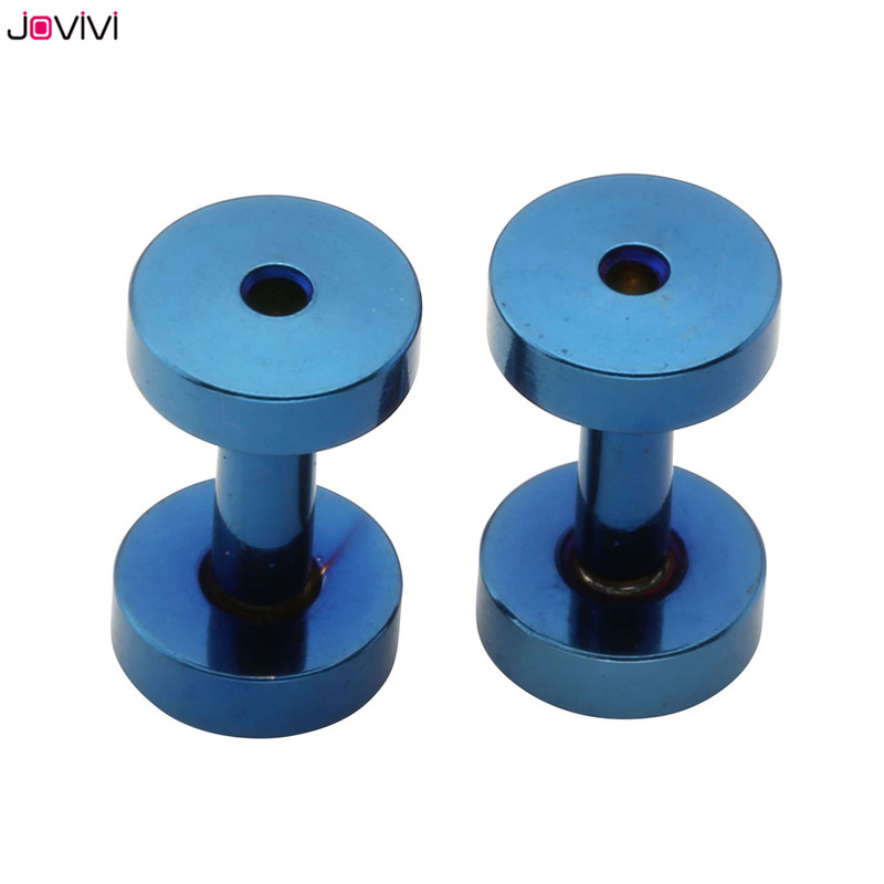 JOVIVI Ear Screw Tunnels Ear Plugs Stretcher Expander Body Piercing Gauges 12ga-0ga 1 Pair Stainless Steel Biru / Berwarna-warni / Emas
