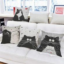 Urijk Cartoon Cat Printed Throw Pillow Linen Sofa Car Seat Cushion Home Decoration Pillow 45cm 45cm