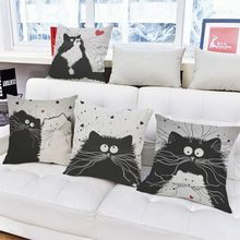 Urijk Cartoon Cat Printed Throw Pillow Linen Sofa Car Seat Cushion Home Decoration Pillow 45cm*45cm