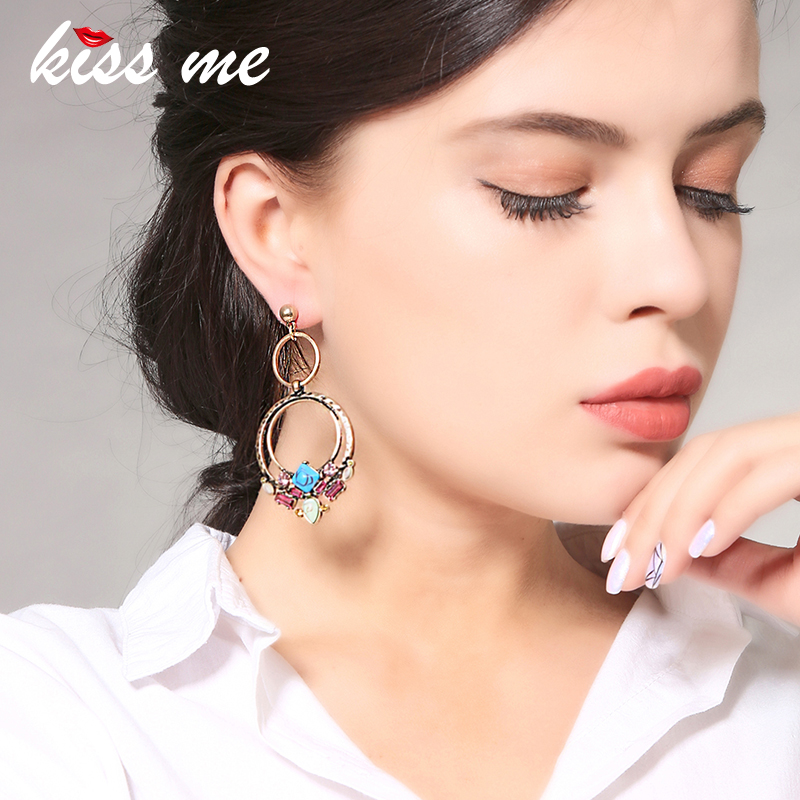 KISS ME 6 Styles Synthetic Stone Acrylic Beads Earrings for Women New Trendy Dangle Earrings Luxury Brand Jewelry