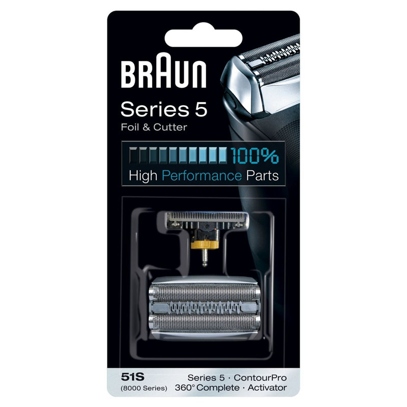 Braun 51S Razor Foil & Cutter Replacement for Series 5 Shavers (8998 8595 8590 5643 5644 5645 New 550 New 570) 628 foil cutter for braun 3000 3731 3732 3733 3734 3770 3773 3305 3310 3315 3610 3612 3614 3615 5635 shaver razor mesh net