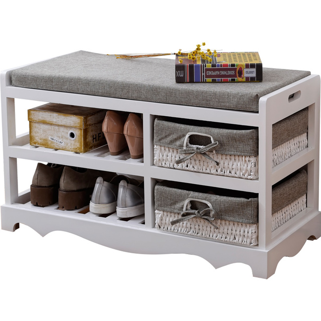 Contemporary Wooden Shoes Organizer Storage And Holder Bench With