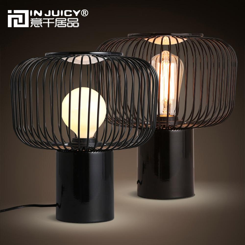 Moderne nordique métal E27 Led lampes de bureau fer Edison Table lumières chevet chambres à manger salon Hall café Bar décor noir