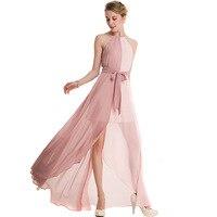 ORMELL Design Pink Chiffon Halter Dress 2017 Summer Dress Women Split Beach Long Dress Sexy Backless