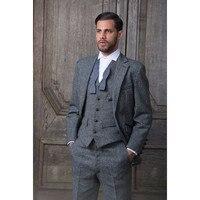 العرف رمادي تويد الرجال بدلة رسمية الرجال يتأهل كلاسيكي أنيق مخصص سهرة 3 قطعة الدعاوى الزفاف (سترة + سروال + سترة)