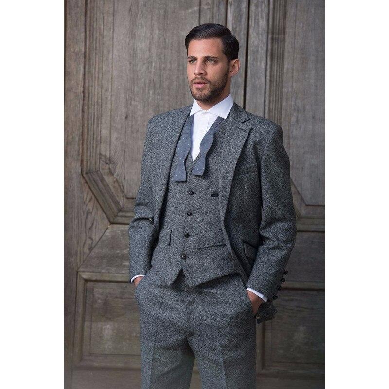 Custom Made Grey Tweed Formal Men Suit Slim Fit Classic Stylish Custom Men Tuxedo 3 Piece Wedding Suits (Jacket+Pants+Vest)