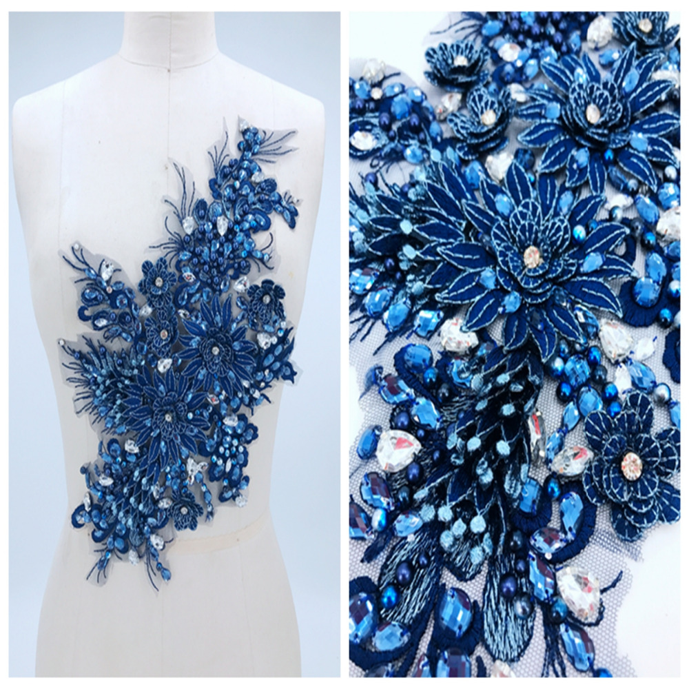 Dark Blue Three-dimensional Lace Applique With Handsewing Beads Rhinestones Trim  Patches 38*23cm For  Dress Accessory