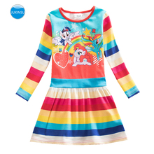 JUXINSU My Baby Girls Little Pony Cartoon Girl Rainbow Long Sleeve Dresses Casual Dress Autumn Winter Home Wear 1-8 Years