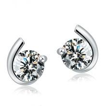 цена 100% 925 sterling silver hot sell shiny crystal star ladies`stud earrings jewelry Anti allergy drop shipping female wedding gift в интернет-магазинах
