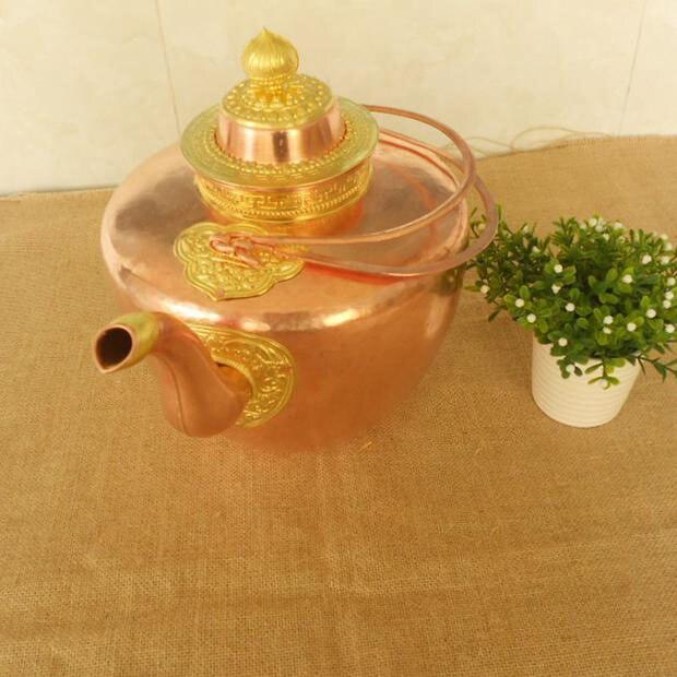Handmade Pure Copper Tea Milk Kettle Large Pot Jug Teapot with Lid