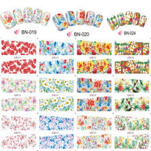 цена на 12 Designs/set Flower Stickers Nail Art Water Transfers Decals Wraps 12 Pattern Water Transfer Nail Sticker Adhesive BN13-24