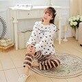 2016 nova outono inverno flanela camisola manga comprida feminina suave corações imprimir pijamas ternos mulheres quente pijamas conjuntos pijamas