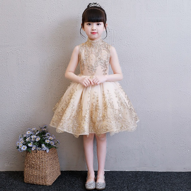 403db597c5e Flower girl dress champagne gold sequin Stunning Beautiful kid birthday  party sleeveless turtleneck ball gown stage costume 2018-in Dresses from  Mother ...