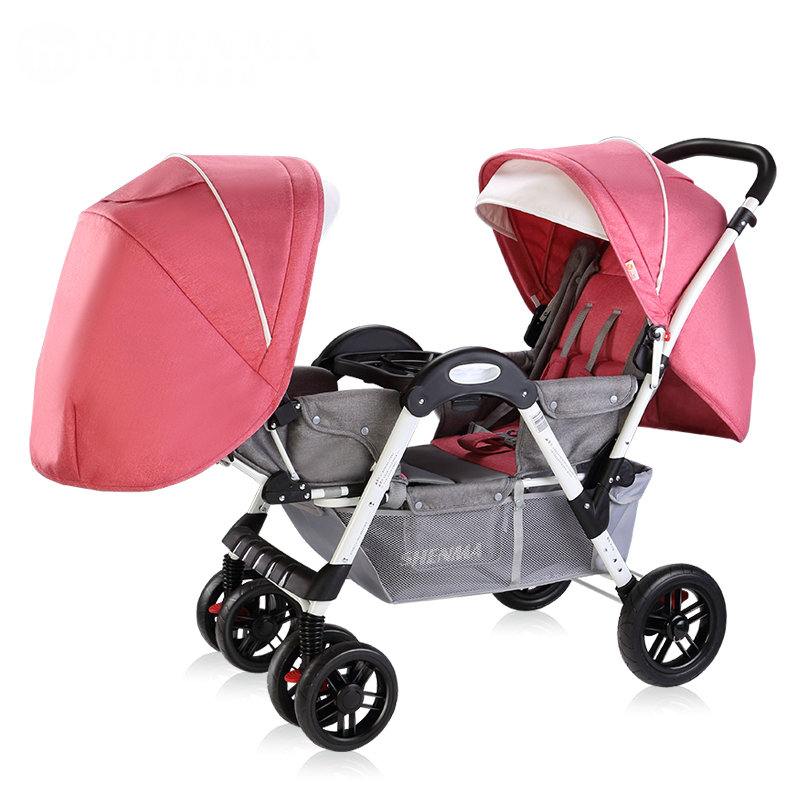 Face to Face Twins Stroller, can sit can lie Twins Carriage, approve SGS test Twins Cart with steel pipe frame, fold baby pram цена