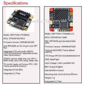 Image 5 - GEPRC OVERSPANNING F405 Vlucht Controller 48CH VTX AIO FC Board 30.5*30.5mm OMNIBUSF4SD Fireware voor FPV Racing Drone