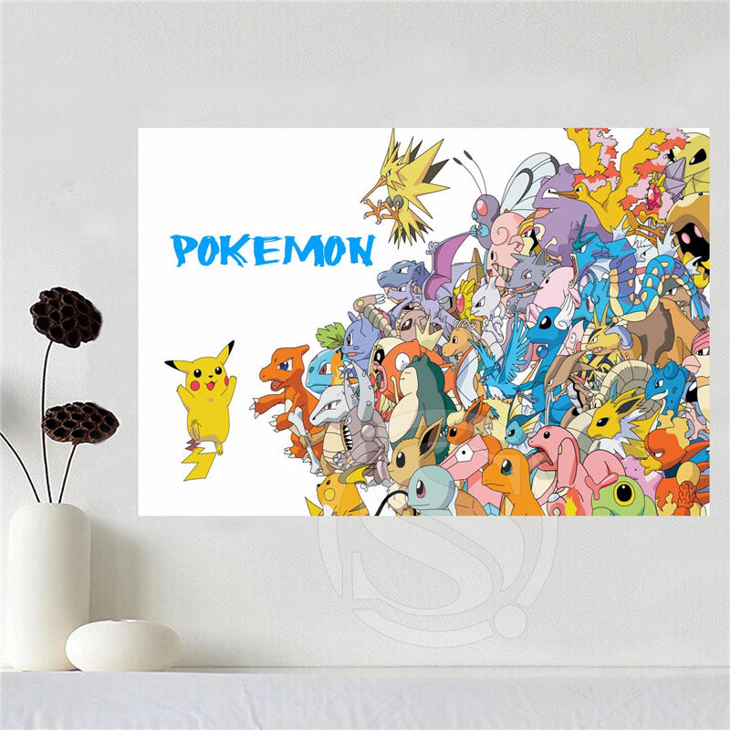 Fabric Wall Posters : Custom canvas poster art pokemon home decoration
