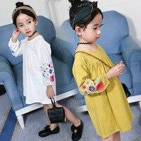 Toddler Girls Dress 2018 Spring Kids Dresses For Girls Floral Embroidery Long Sleeve Princess Party Dresses Children Clothing 14