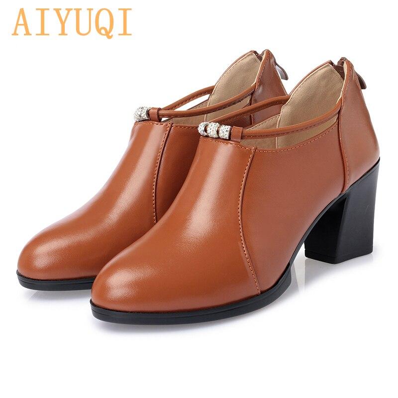 AIYUQI Women office shoes 2019 new Chunqiu Period genuine leather women dress shoes Trend high heeled