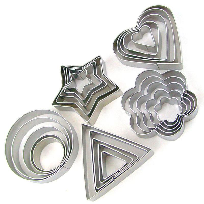 5PCS/Set Round/Heart/Flower/Star Shape Cookie Cutter Stamp New Year Decoration Cake Tools Biscuit Mold Christmas Cutter S4 ...
