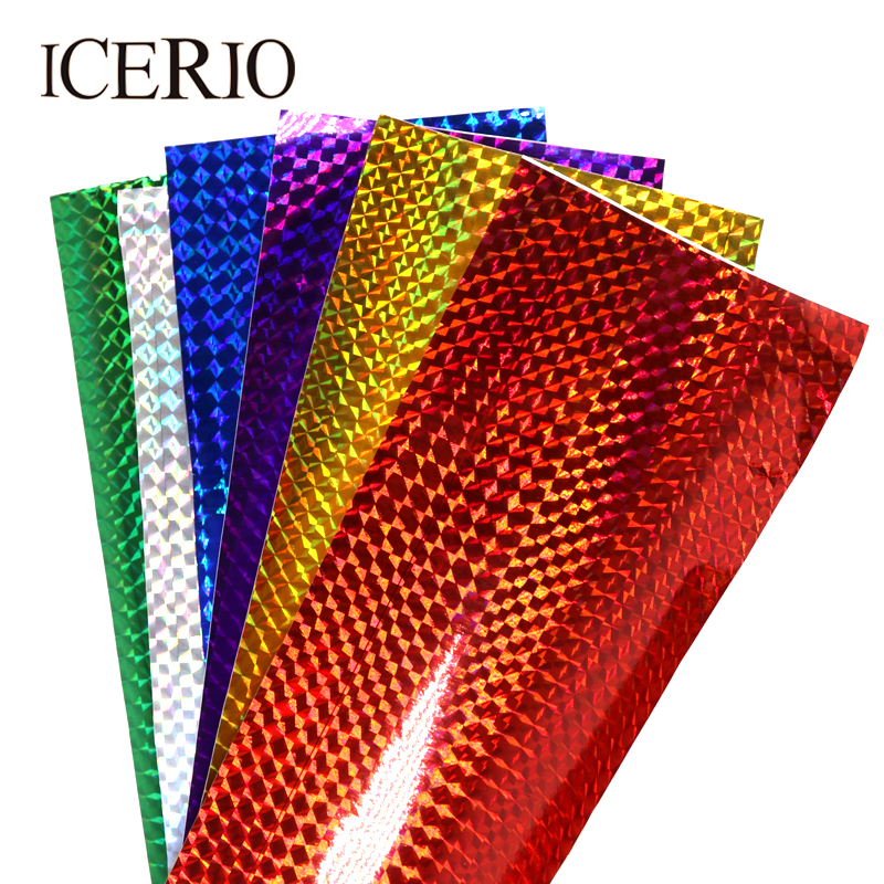 ICERIO 6PCS 10*20cm Holographic Adhesive Film Flash Tape for Lure Making Fly Tying Materail Metal Hard Baits Flies Color Sticker 5sheets pack 10cm x 5cm holographic adhesive film fly tying laser rainbow materials sticker film flash tape for fly lure fishing