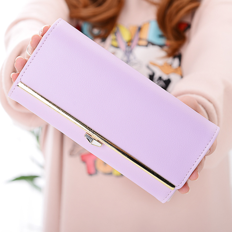 MONNET CAUTHY Wallets Women Classic Sweet Fashion Multi Card Slot Large Capacity Solid Color Pink Green Gold Purple Long Wallet