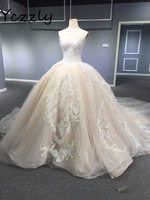 High-end Dubai Arabic Ball Gown Puffy Champange Wedding Dress 2017 Plus Size Long Lace Appliques Wedding Gowns Casamento RW384