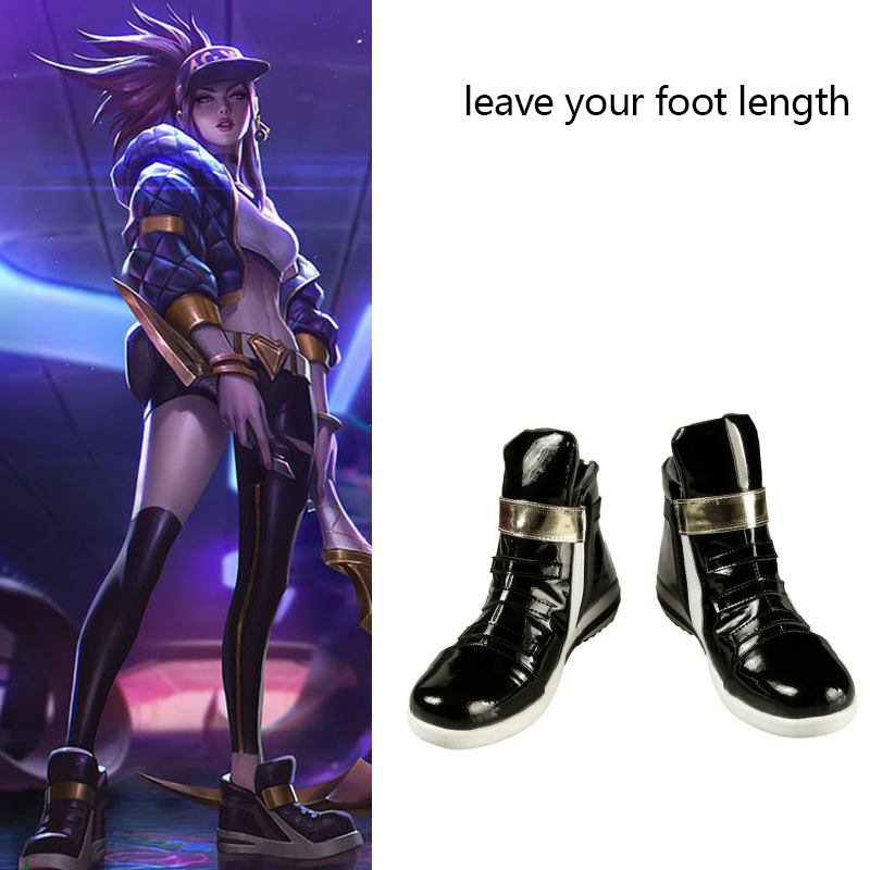 Game LOL Costume KDA Akali Cosplay Boots Flat Shoes Props Women Leather Shoes Halloween Carnival Accessories Custom Made
