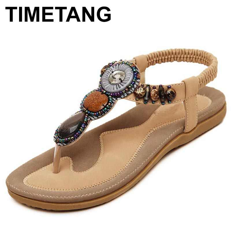 0cfc9bf0ec5a TIMETANG Plus Size 35-42 Sandals Women PU Flip Flops Casual Shoes Woman  Beading Elastic