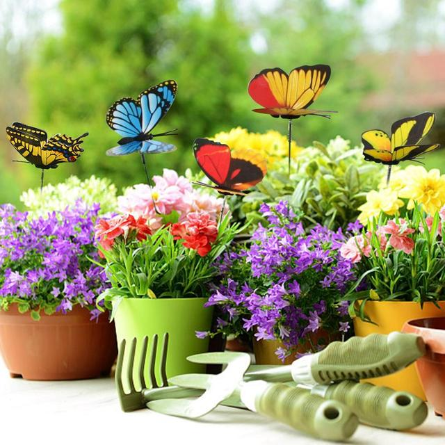 25pcs Colorful Double Layer Erfly On Sticks Home Yard Lawn Flowerpot Plant Decoration Garden Ornament Diy Craft