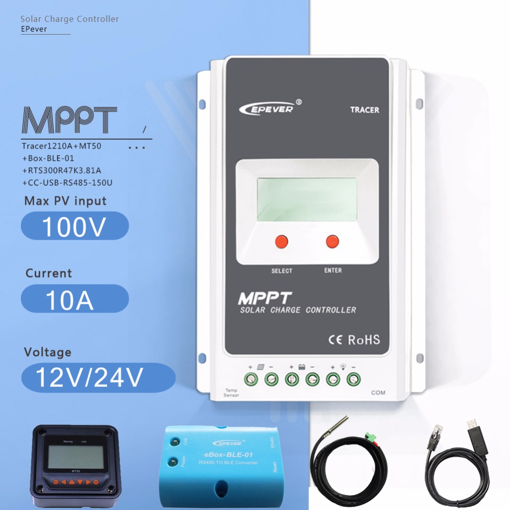 MPPT 10A Tracer 1210A Solar Charge Controller 12/24V Auto PV Regulator with MT50 Meter Ebox BLE USB Cable and Temperature Sensor 10a mppt solar charge controller remote meter mt50 epever battery regulator 100v pv input 12v 24vdc auto with lcd display