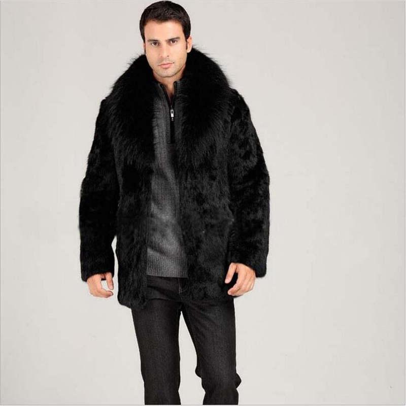 f0f0754b76d Men Faux Fur Coats Winter Black Long Sleeve Mink Turn-down Collar Fox Hairs Fur  Coat 3XL Cardigan Winter Warm Male Fur Jacket